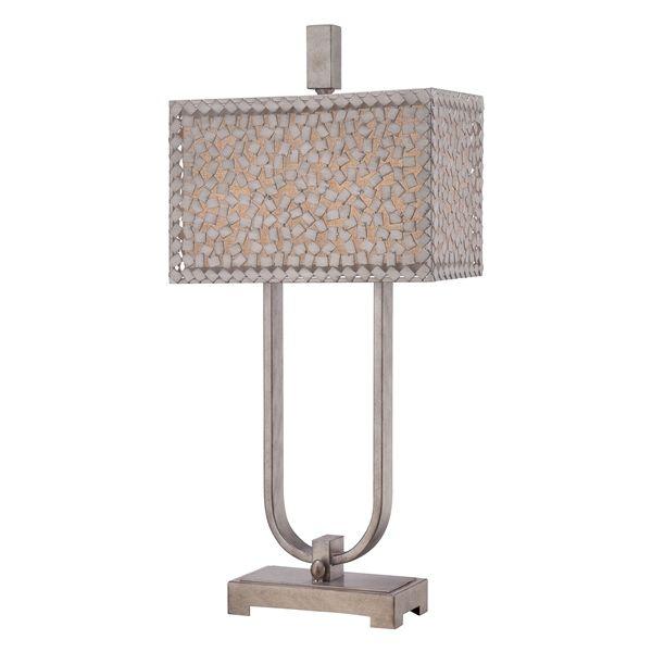 klasyczna lampa stołowa z abażurem i metalową mozaiką