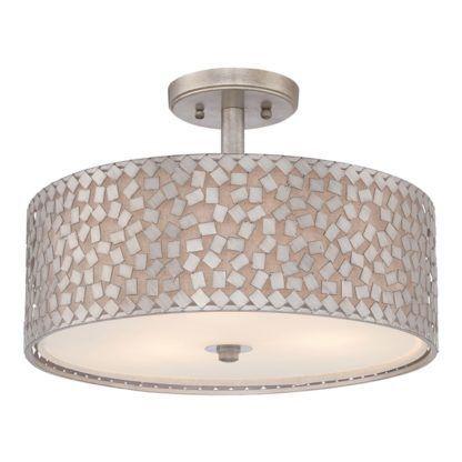 okrągła lampa sufitowa z metalową, srebrną mozaiką, mleczny dyfuzor