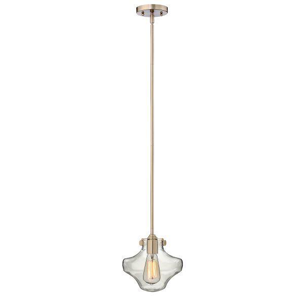 lampa wisząca z transparentnym kloszem i złotym zawieszenie, styl industrialny