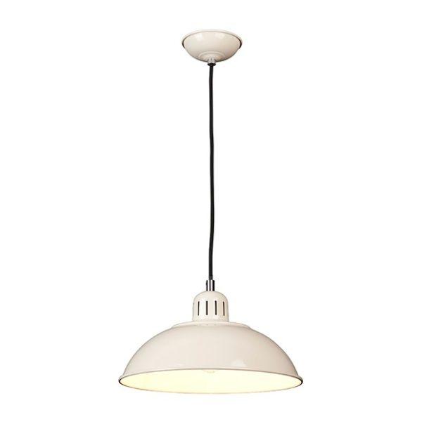 kremowa lampa wisząca w połysku, lampa kuchenna
