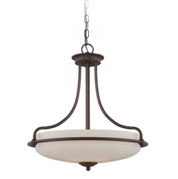 klasyczna lampa wisząca z dużym, mlecznym kloszem w brązowej oprawie z metalu, oświetlenie do kuchni retro