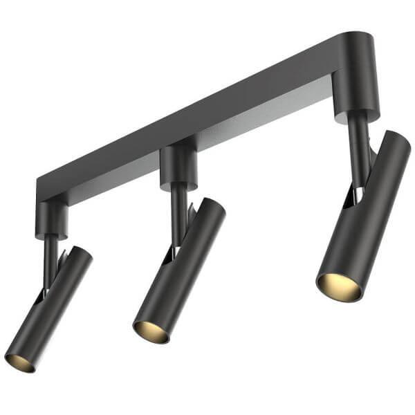 czarna, metalowa lampa sufitowa szynowa, trzy klosze czarne tuby