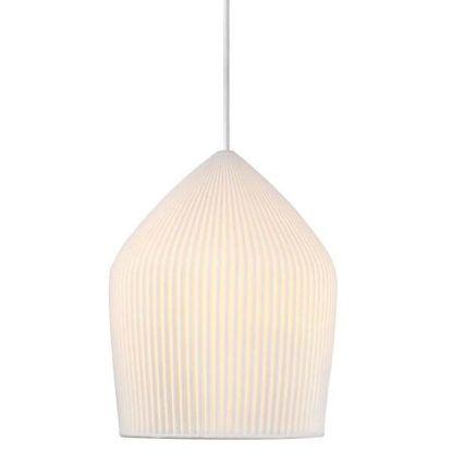 elegancka lampa wisząca, ceramiczny klosz w harmonijkę