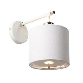 Biały kinkiet Modern - Ardant Decor - materiałowy abażur