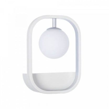 designerski, biały kinkiet ze szklanym kloszem kulą, nowoczesny