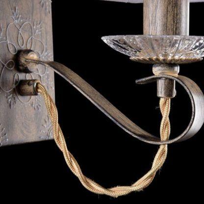 brązowy kinkiet z wzorami vintage , szklane detale