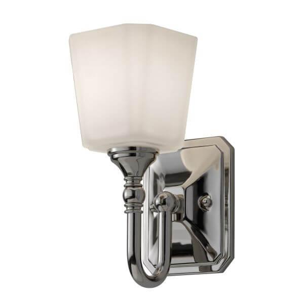 srebrna lampa ścienna, kinkiet do łazienki, biały klosz ze szkła