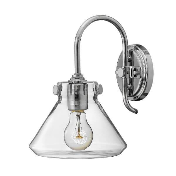 srebrna lampa ścienna z przezroczystym kloszem ze szkła, industrialna