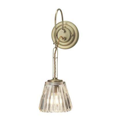 elegancki kinkiet ze szklanym kloszem i złotą oprawą