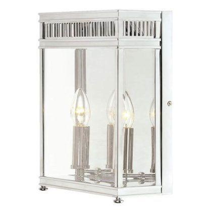kinkiet w srebrnej oprawie ze szklanymi ściankami