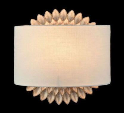 złoto-beżowy kinkiet w kształcie kwiatu/słońca, biały abażur