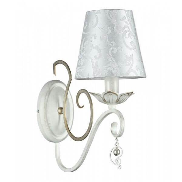 elegancki kinkiet z materiałowym abażurem, biało-złoty, motyw florystyczny