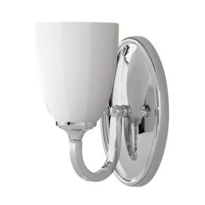 łazienkowy kinkiet odporny na wilgoć z białym kloszem