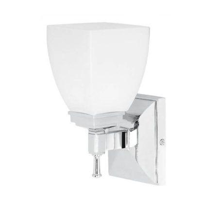 biało srebrny szklany kinkiet do łazienki