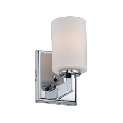 lampa ścienna na kwadratowej podstawie, z mlecznym kloszem, nowoczesna lampa do łazienki