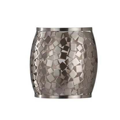 metalowy kinkiet ze srebrnej mozaiki, nowoczesny design, beczułka