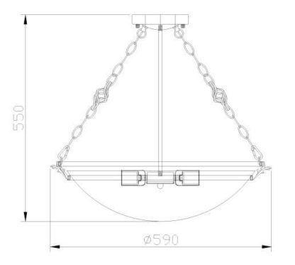 klasyczna lampa sufitowa mocowana na dekoracyjnych łańcuchach