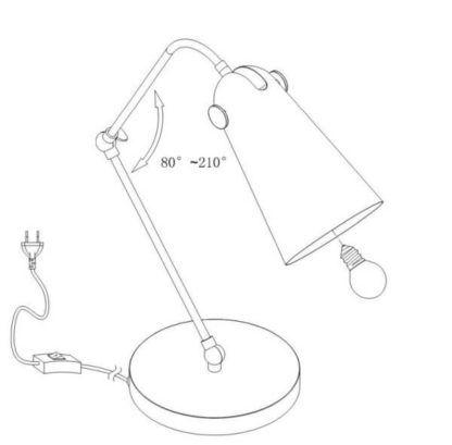 lampa biurkowa na okrągłej podstawie, metalowa, z mobilnym kloszem