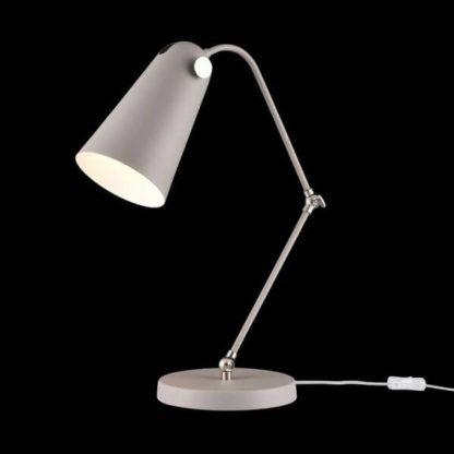 nowoczesna lampa biurkowa, szara, oryginalny kształt