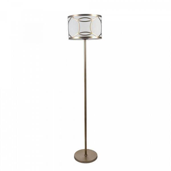 złota lampa podłogowa z ciekawym, białym abażurem
