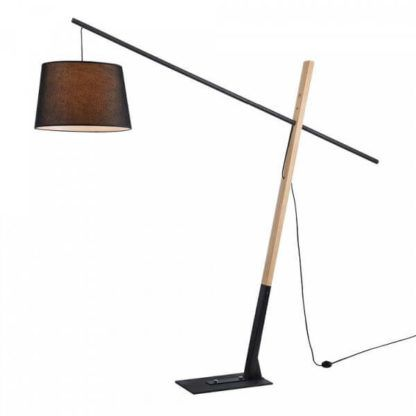 nowoczesna lampa podłogowa z drewnianą nogą, geometryczna, czarny abażur
