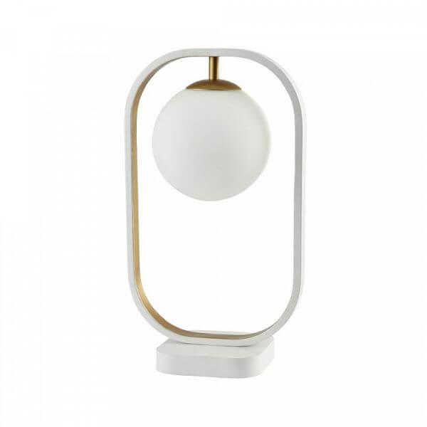 minimalistyczna, nowoczesna lampa stołowa, biała, oryginalna forma