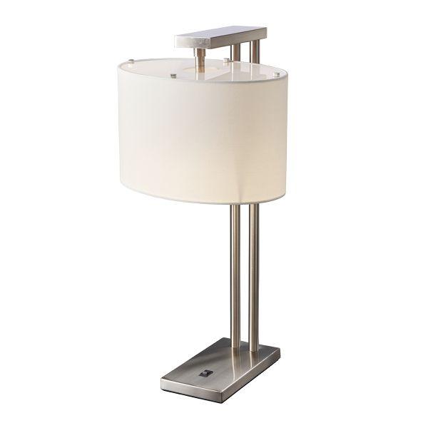 srebrna lampa stołowa z włącznikiem, biały abażur