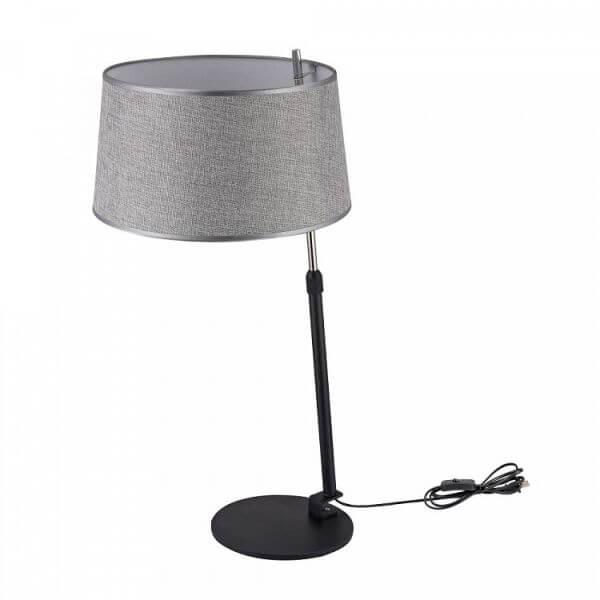 elegancka lamp stołowa na cienkiej podstawie, szary abażur otwarty na dół i na górę
