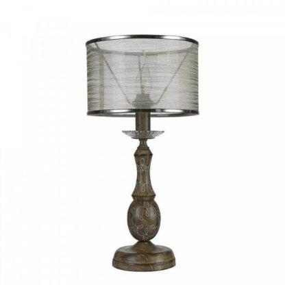 lampa stołowa w stylu vintage, drewniana podstawa z wzorami