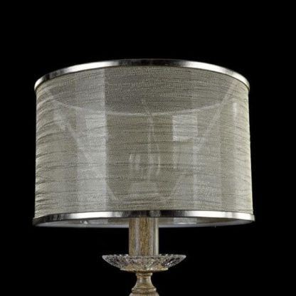 brązowa lampa stołowa vintage, cienki abażur