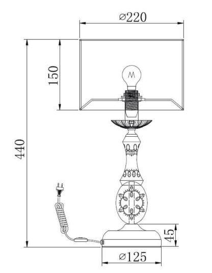 swojska lampa stołowa, zdobiona podstawa