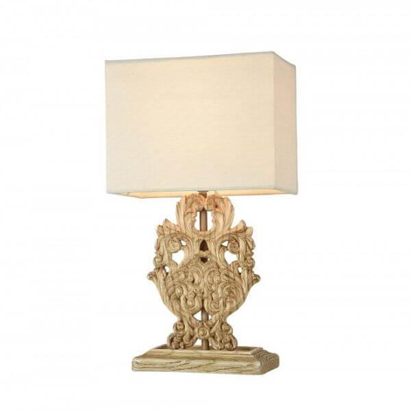 efektowna lampa stołowa z jasnym abażurem i mocno zdobioną, klasyczną podstawą