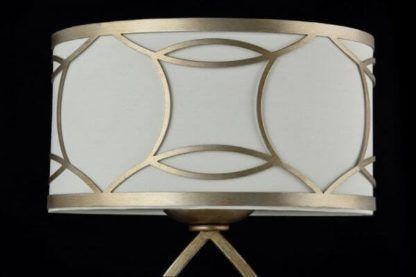 owalna lampa stołowa z biało-złotym abażurem, modern classic