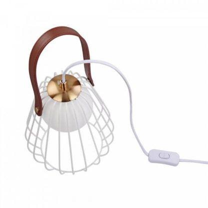 oryginalna lampa stołowa z ażurowym kloszem z prętów metalowych