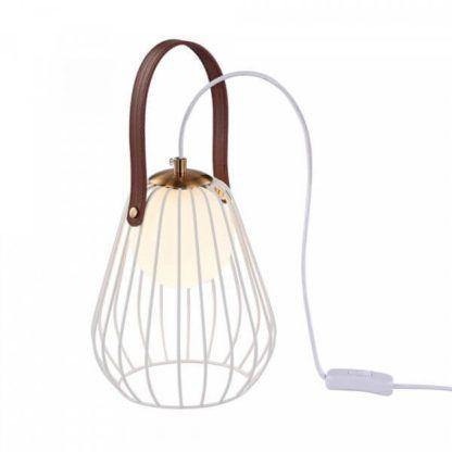 biała lampa stołowa z drutu, i mlecznego szkła, styl skandynawski