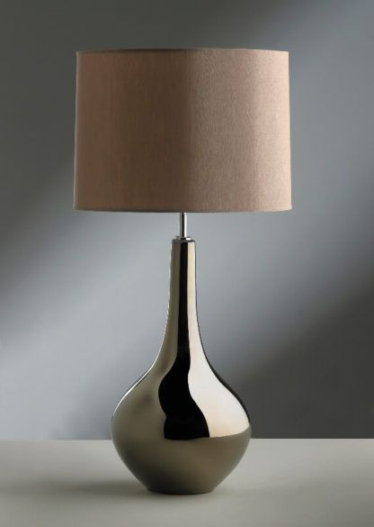 efektowna lampa stołowa z lustrzaną podstawą