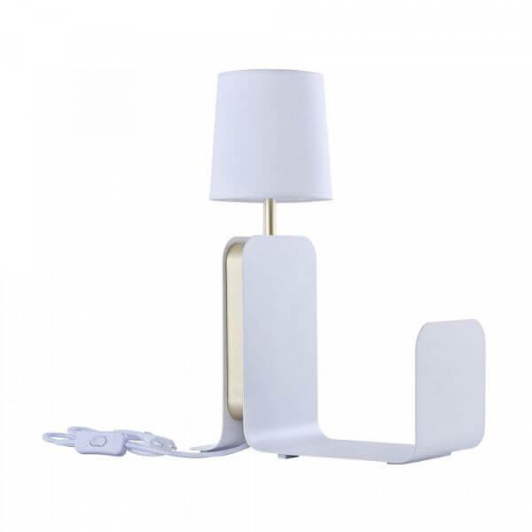 Funkcjonalna lampa stołowa Karl - Maytoni - biały abażur, metalowa półka