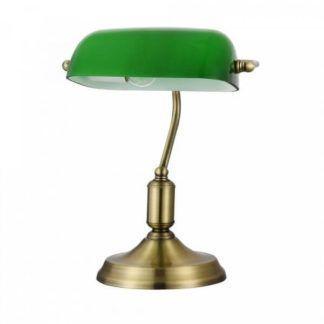 Stylowa lampa biurkowa Kiwi - Maytoni - zielony klosz, złota podstawa