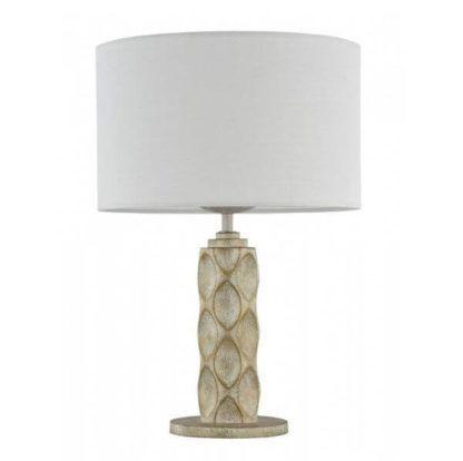 biała lampa stołowa ze złoto-beżową podstawą dekoracyjną