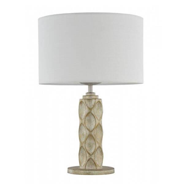 oryginalna lampa stołowa z dekorowaną podstawą i białym abażurem