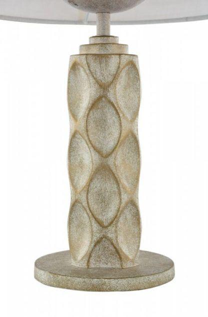 złoto-beżowa lampa w oryginalne wzory, biały abażur