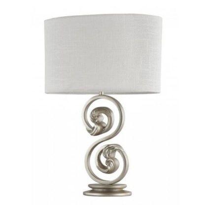 stylowa lampa stołowa z dekoracyjną podstawą z metalu