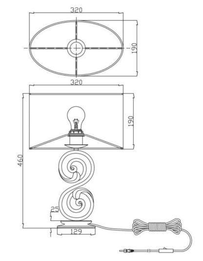 lampa stołowa metalowa z białym abażurem