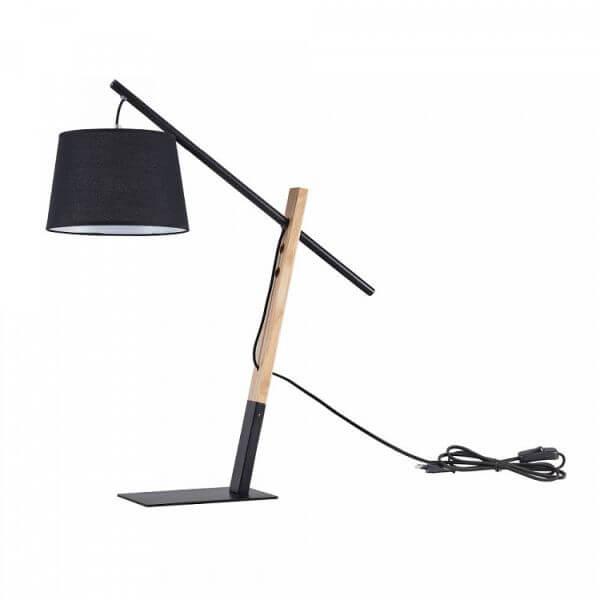 czarna lampa stołowa z drewnianą nogą i czarnym, materiałowym abażurem, nowoczesna