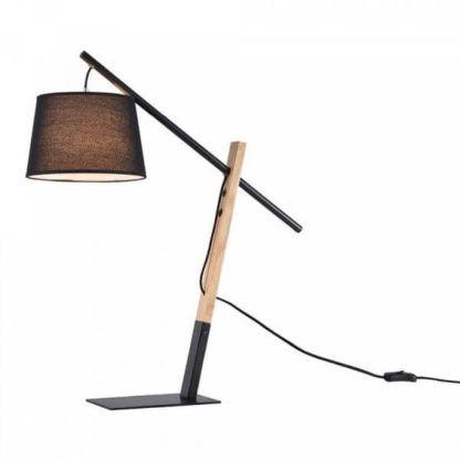 skandynawska lampa stołowa z drewnianą podstawą, czarny abażur
