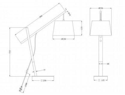 lampa stołowa z drewnianą nogą , czarny abażur
