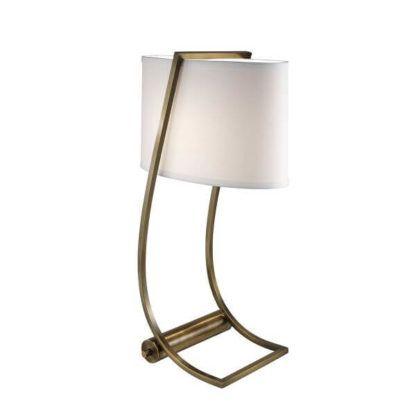 lampa stołowa z białym abażurem, oryginalna forma, wbudowany port USB