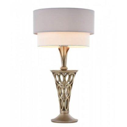 metalowa, ażurowa lampa stołowa z podwójnym, biało-szarym abażurem