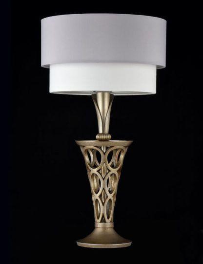 elegancka lampa stołowa z ażurową, metalową podstawą złotą
