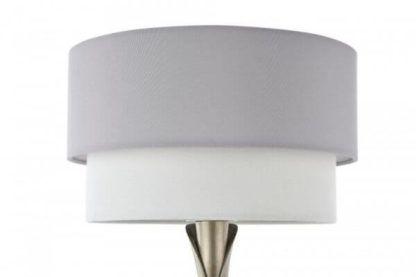 lampa stołowa z podwójnym biało-szarym abażurem okrągłym
